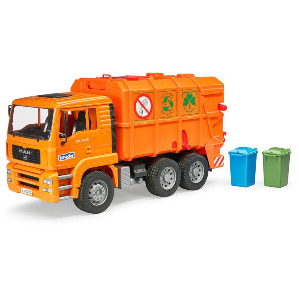 Bruder vuilniswagen - oranje