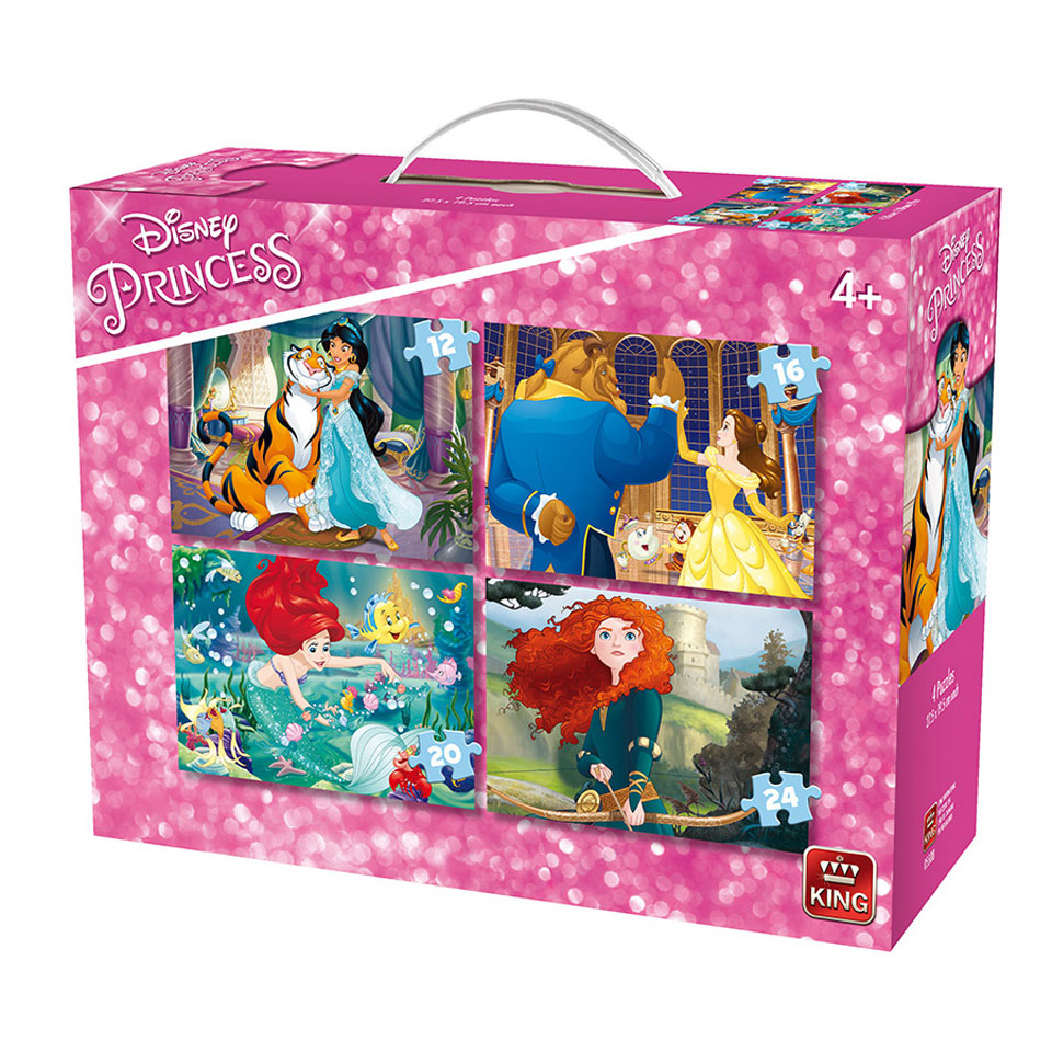 King 4-in-1 puzzel Disney Princess - 12 + 16 + 20 + 24 stukjes
