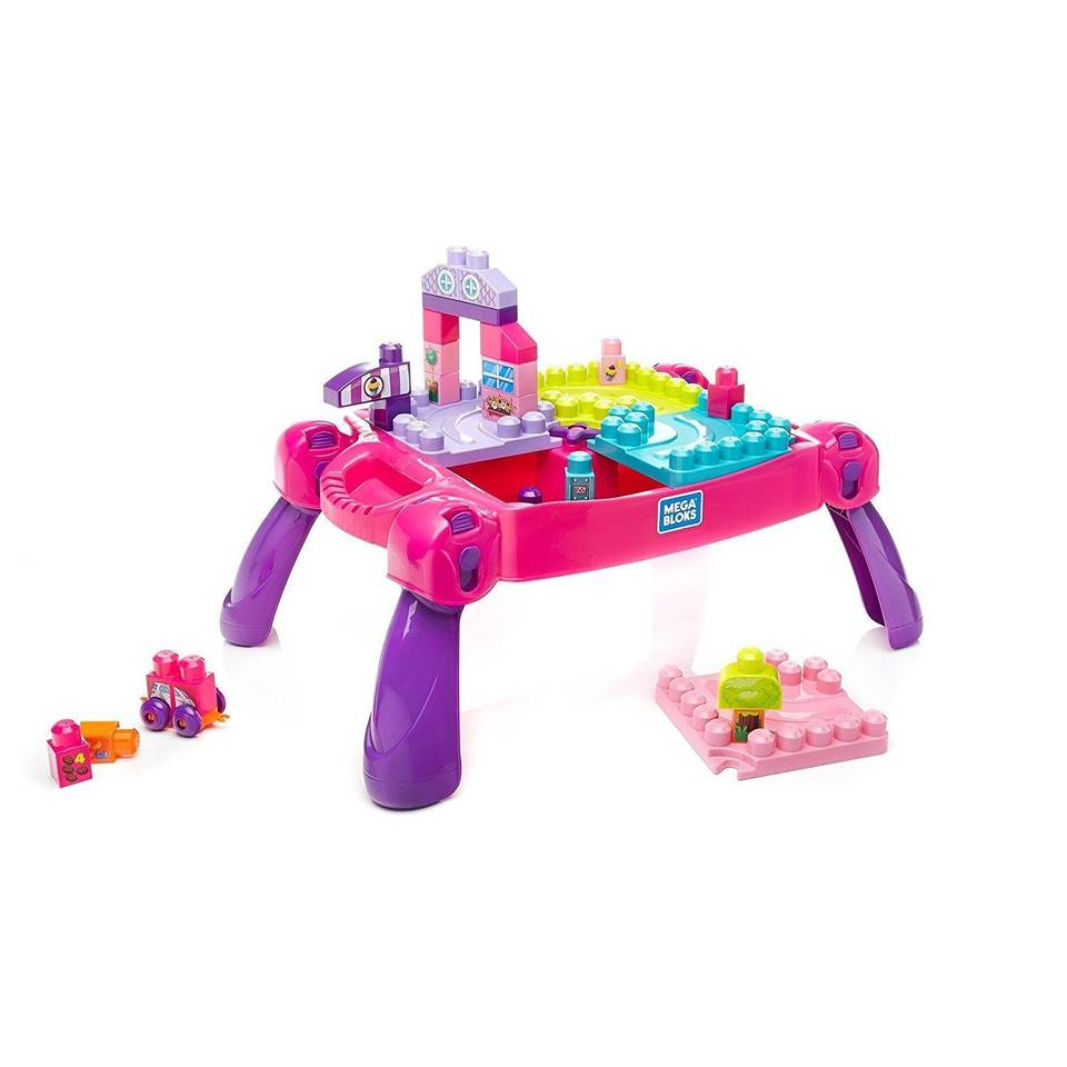 Mega Bloks bouw- en leertafel - roze - 30-delig