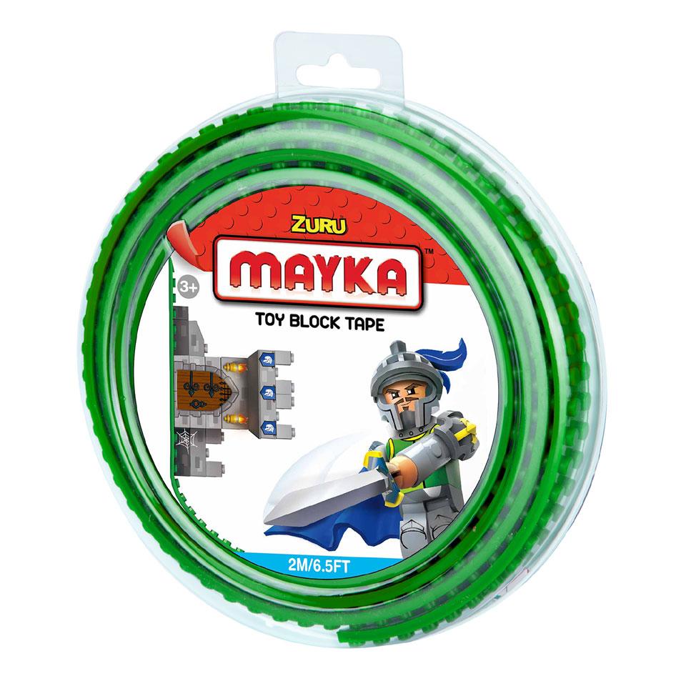 Mayka speelgoed blok tape 2 noppen - 2 meter - groen