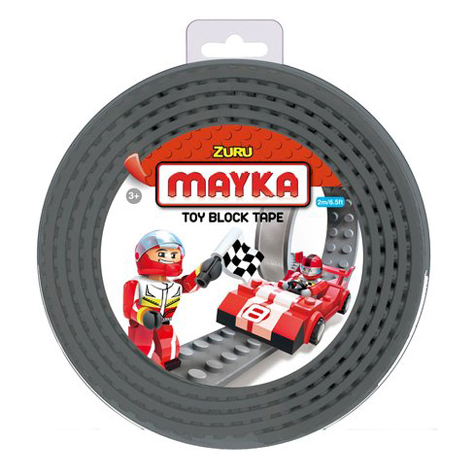 Mayka speelgoed blok tape 2 noppen - 2 meter - grijs