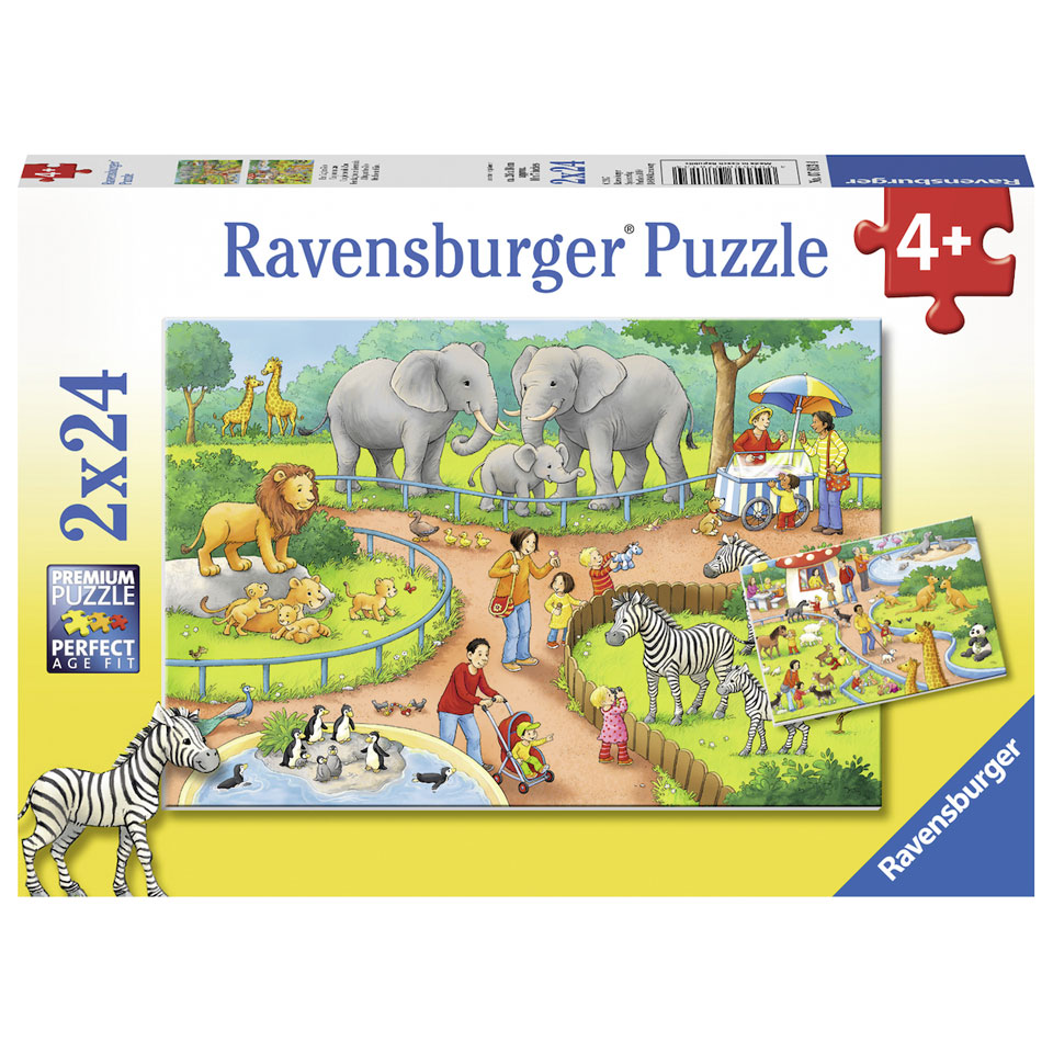 Ravensburger puzzelset een dag in de dierentuin - 2 x 24 stukjes