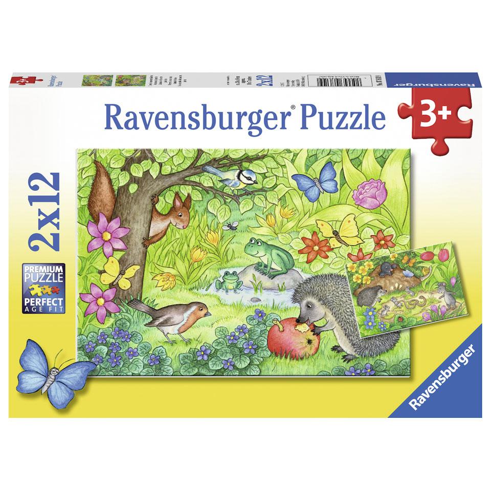 Ravensburger puzzel dieren in onze tuin - 2 x 12 stukjes