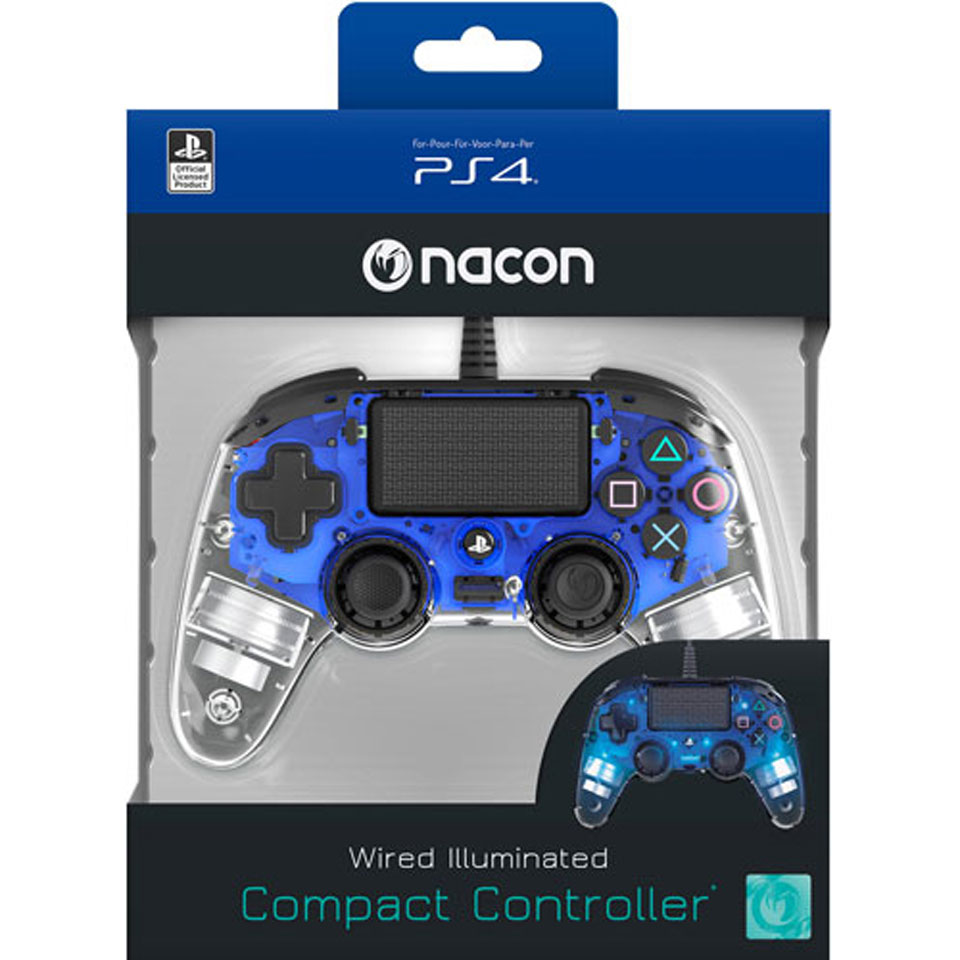 PS4 Nacon Official Wired LED Controller - blauw