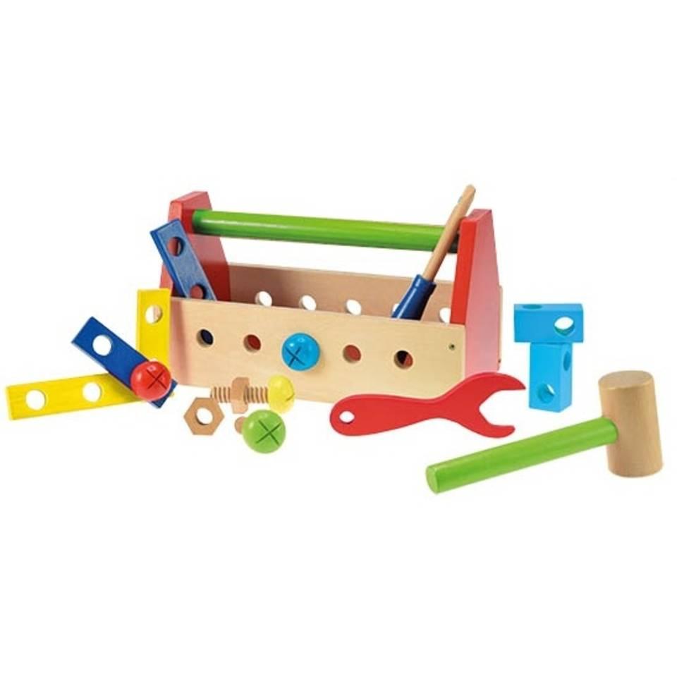 Toi-toys houten gereedschapskist 26 cm 16- delig