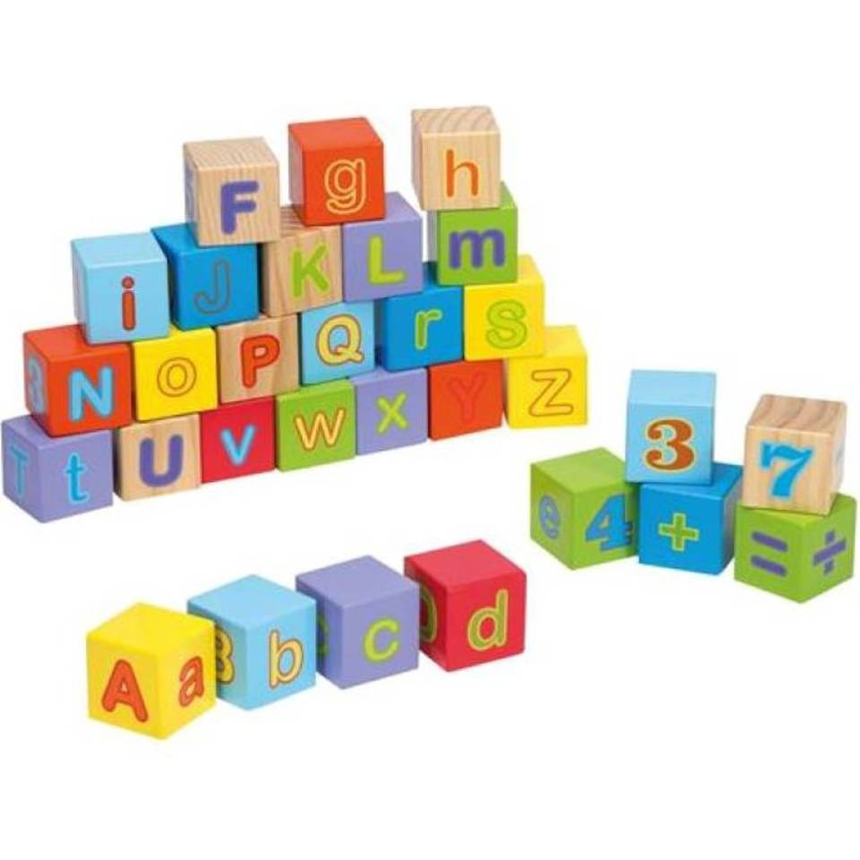 Jouéco houten alfabetblokken 30-delig