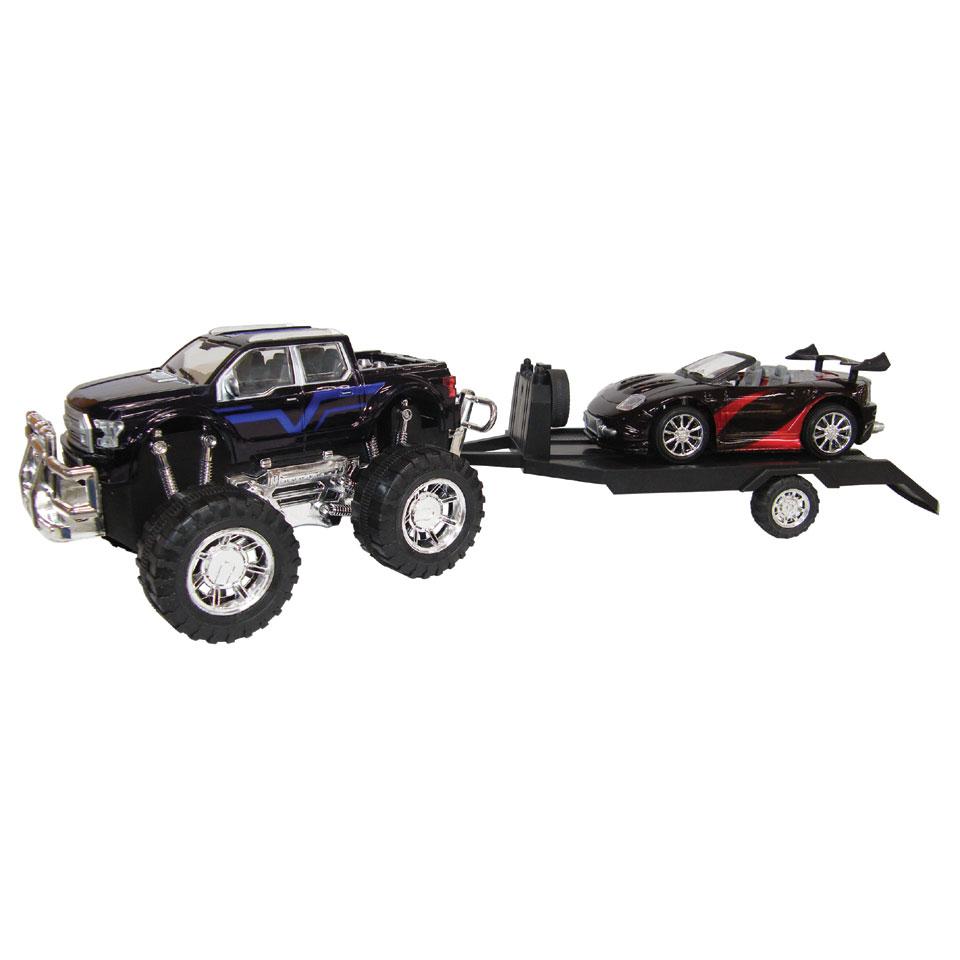 Friction off-roader met trailer Sedan - blauw/rood
