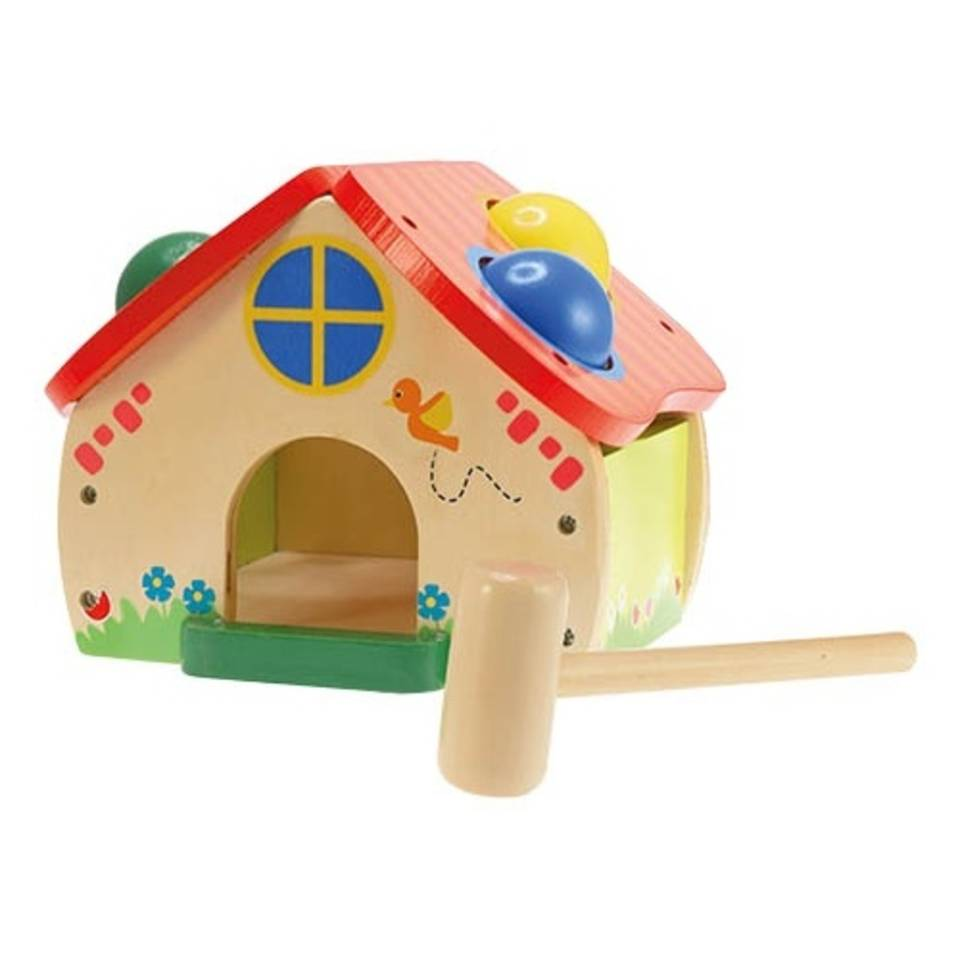 Toi-toys Hamertje tik houten huis 2-delig