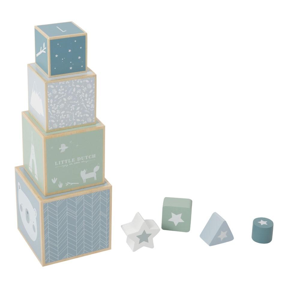 Little Dutch houten stapelblokken - blauw
