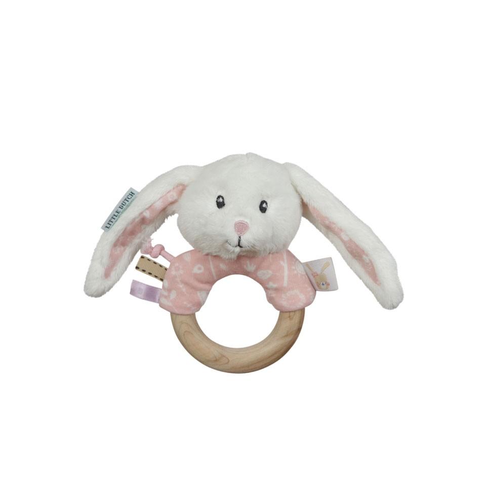 Little Dutch rammelaar houten ring - roze