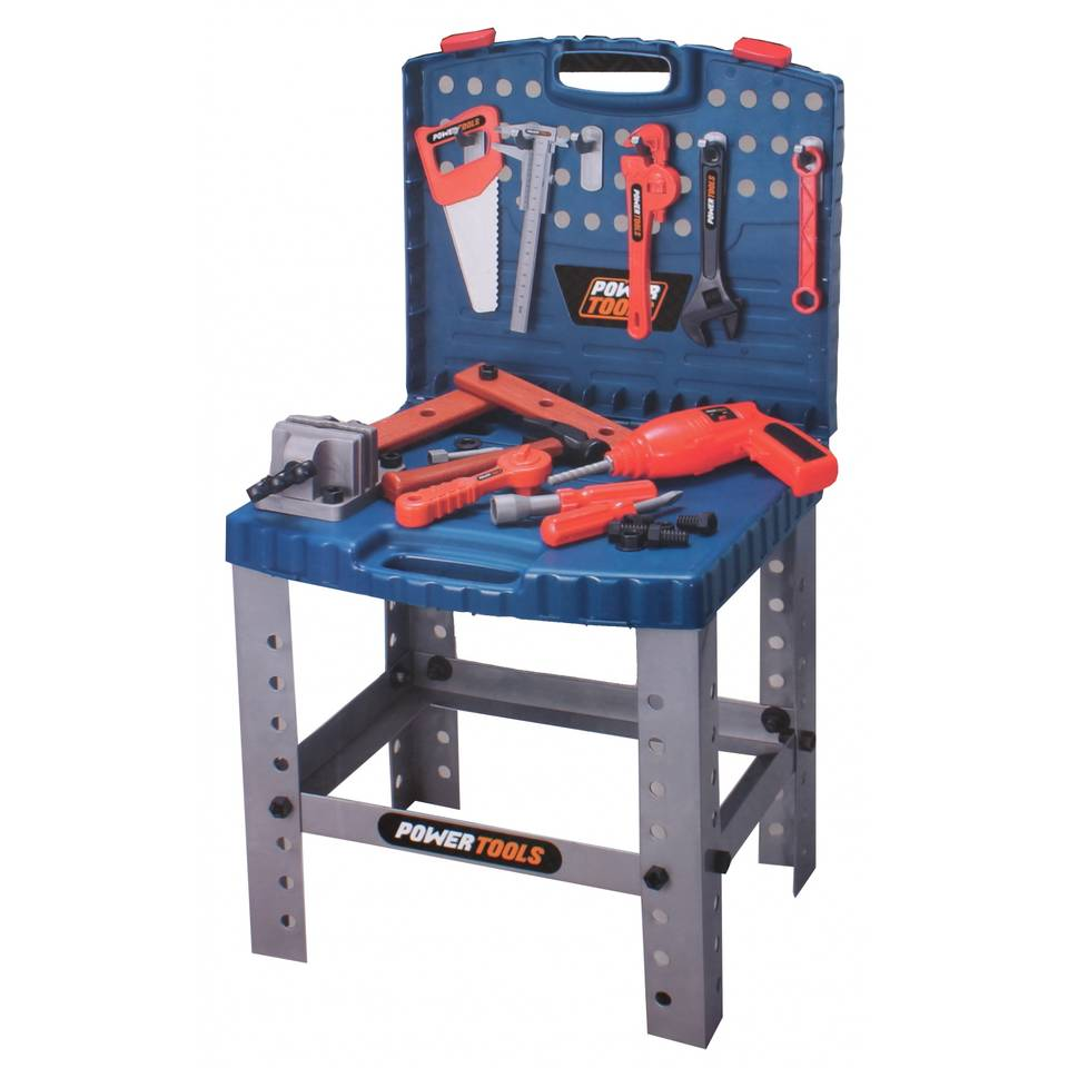 Toi-toys werkbank in koffer power tools - 15 cm - blauw