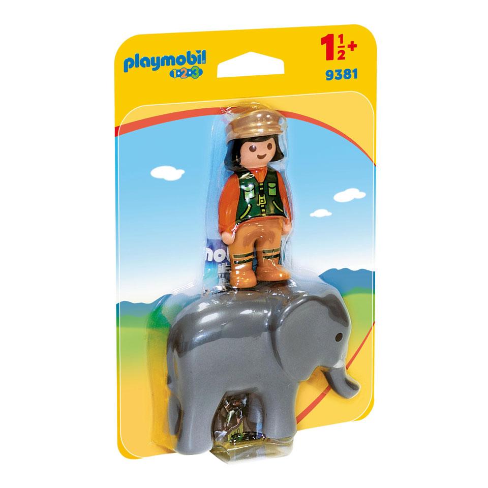 PLAYMOBIL 1.2.3 dierenverzorgster met olifant 9381