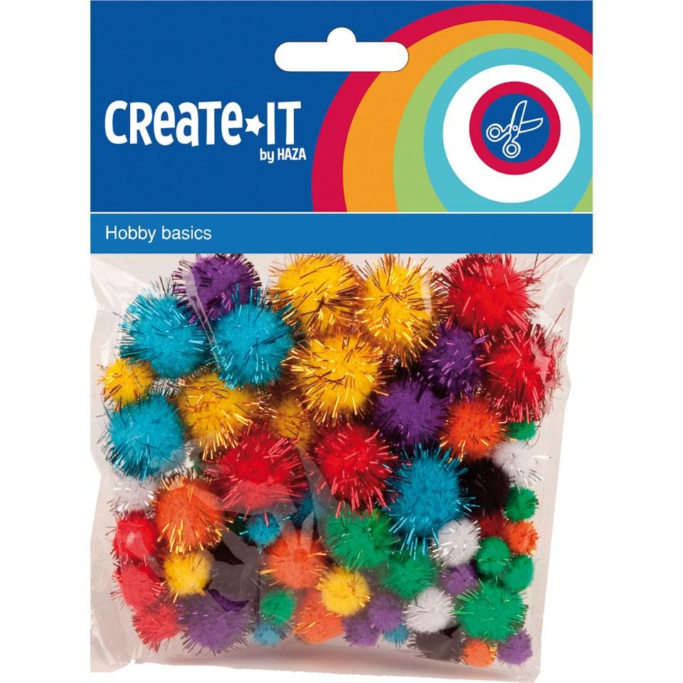 Create-it pompoms glitter 78-delig