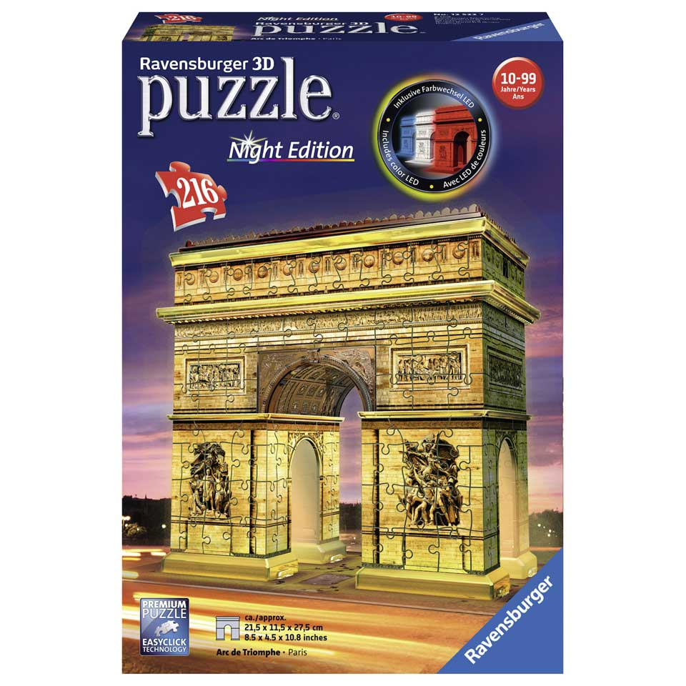 Ravensburger Arc de Triomphe by Night 3D-puzzel - 216 stukjes