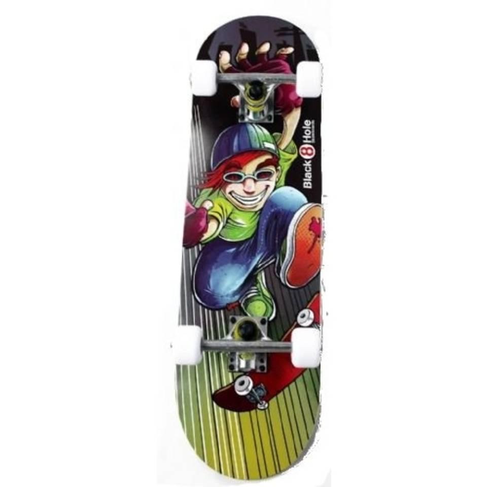 Black 8 hole skater boy skateboard junior - zwart