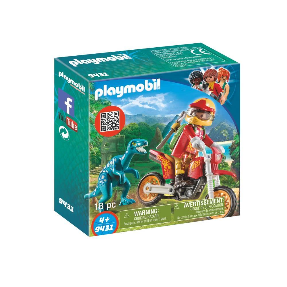 PLAYMOBIL Dinos motorcrosser met Raptor 9431