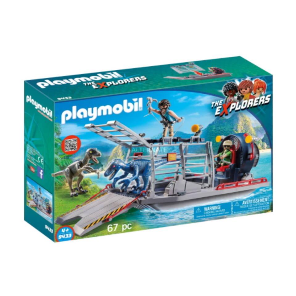 PLAYMOBIL Dinos luchtkussenboot met dinokooi 9433
