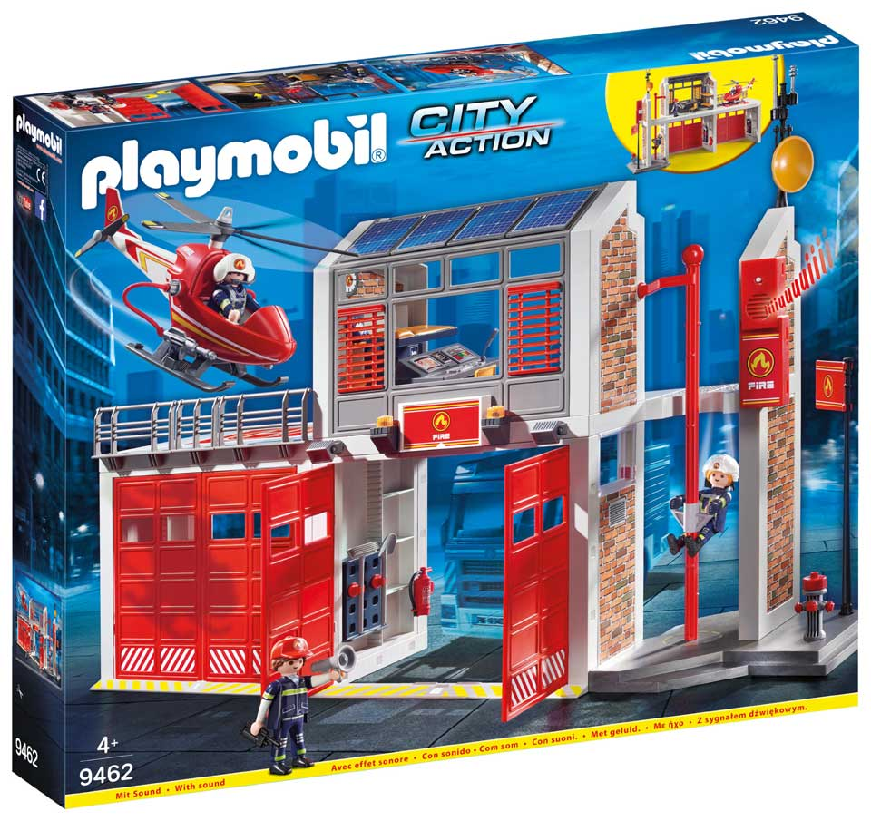 PLAYMOBIL City Action brandweerkazerne met helikopter 9462