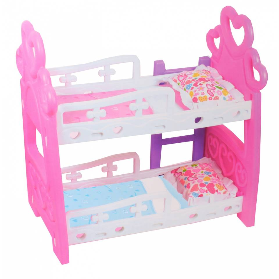 Toi-Toys poppen stapelbed - 50 x 31 x 50 cm - wit/roze