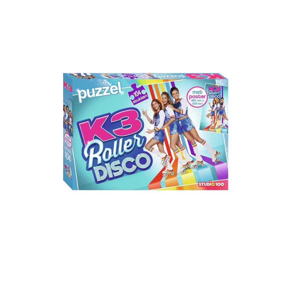 K3 puzzel Rollerdisco met poster - 104 stukjes