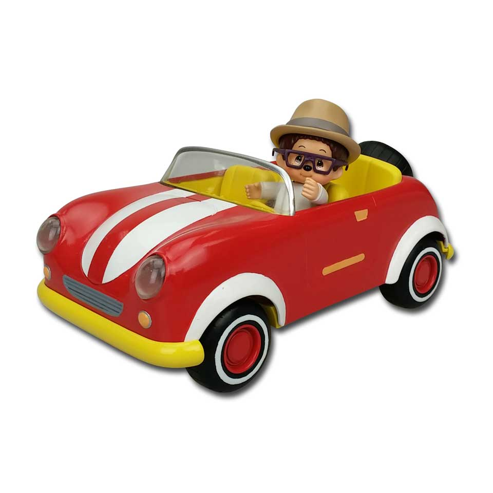 Monchhichi auto cabriolet met Willow - rood