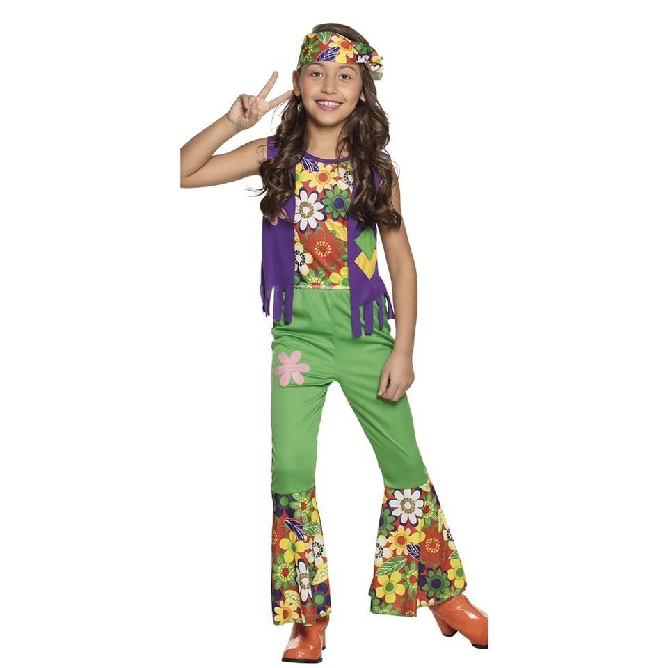 Boland verkleedpak hippie meisjes - groen - maat 104/116