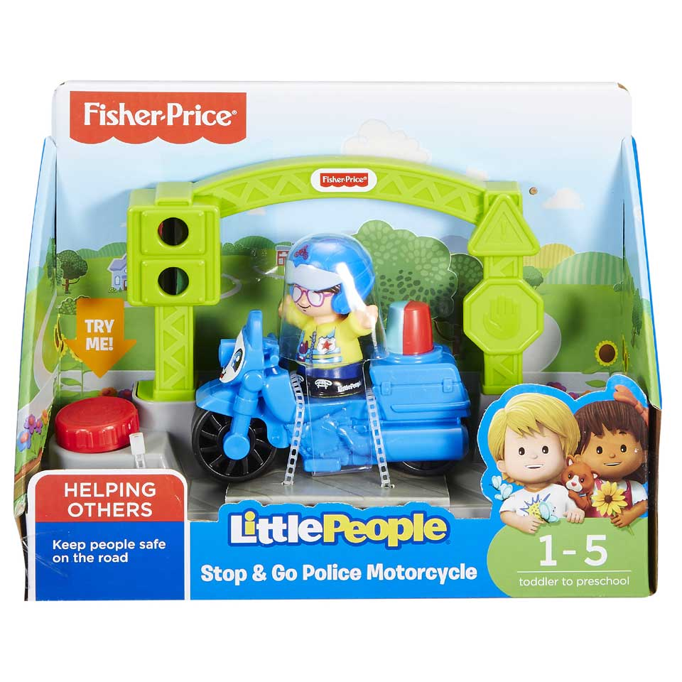 Fisher-Price Little People Stop & Go politiemotor 3-delig - blauw