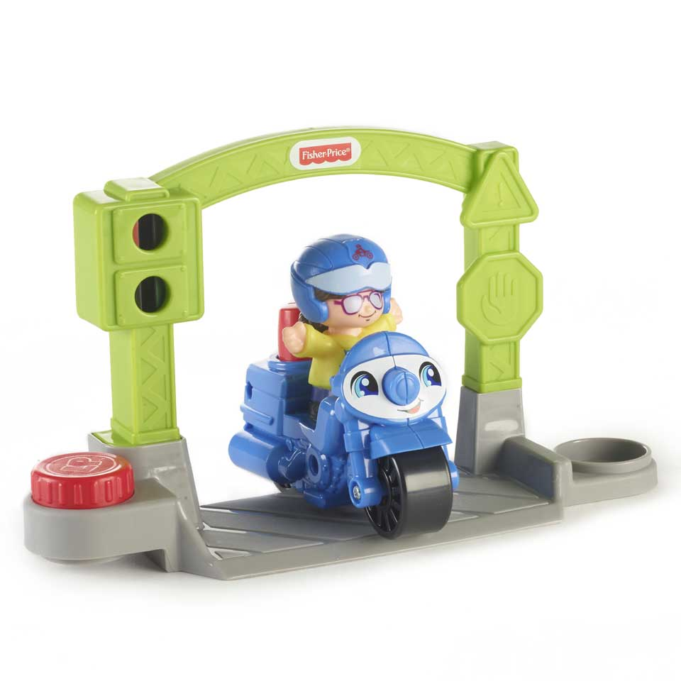 Fisher-Price Little People Stop & Go politiemotor 3-delig - blauw