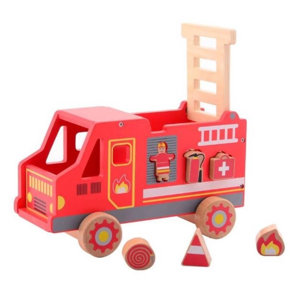 Jouéco vormenstoof houten brandweerauto 26 cm rood