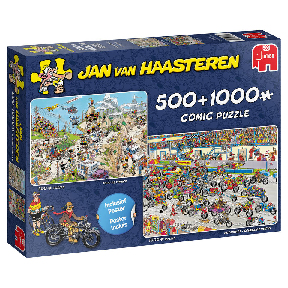 Jumbo Jan van Haasteren 2-in-1 puzzelset Tour de France + Motorrace - 500 + 1000 stukjes