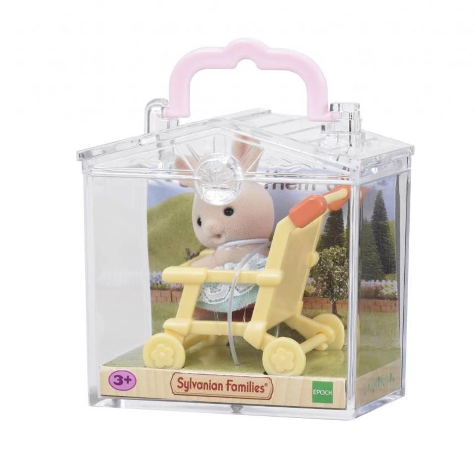 Sylvanian Families baby draagdoosje konijn in wandelwagen 5200