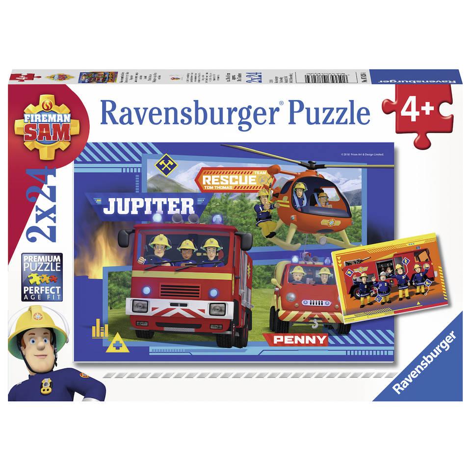 Ravensburger 2-in-1 puzzelset waterloop met brandweerman Sam - 24 stukjes