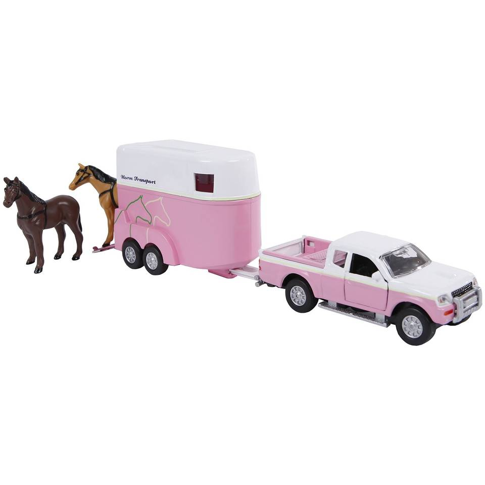 Kids Globe Mitsubishi auto met paardentrailer - 27 cm