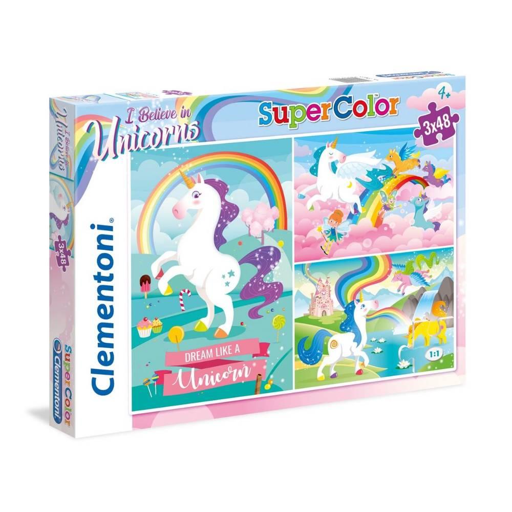 Clementoni puzzel eenhoorn - 3 x 48 stukjes