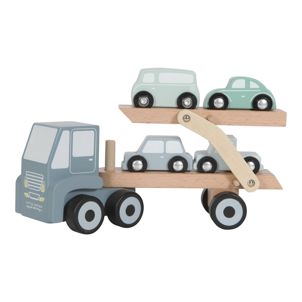 Little Dutch houten truck met oplegger - blauw