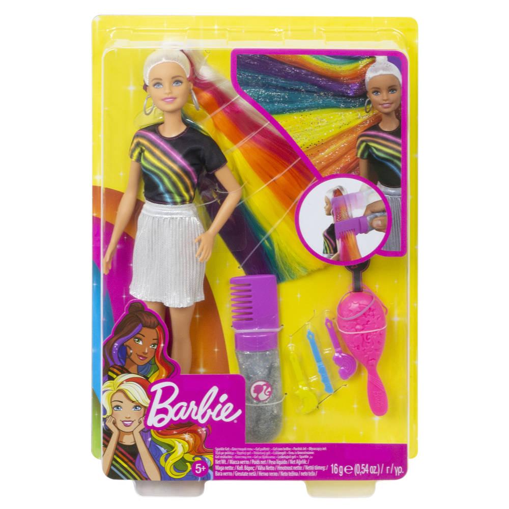 Barbie mannequinpop regenboog glitterhaar