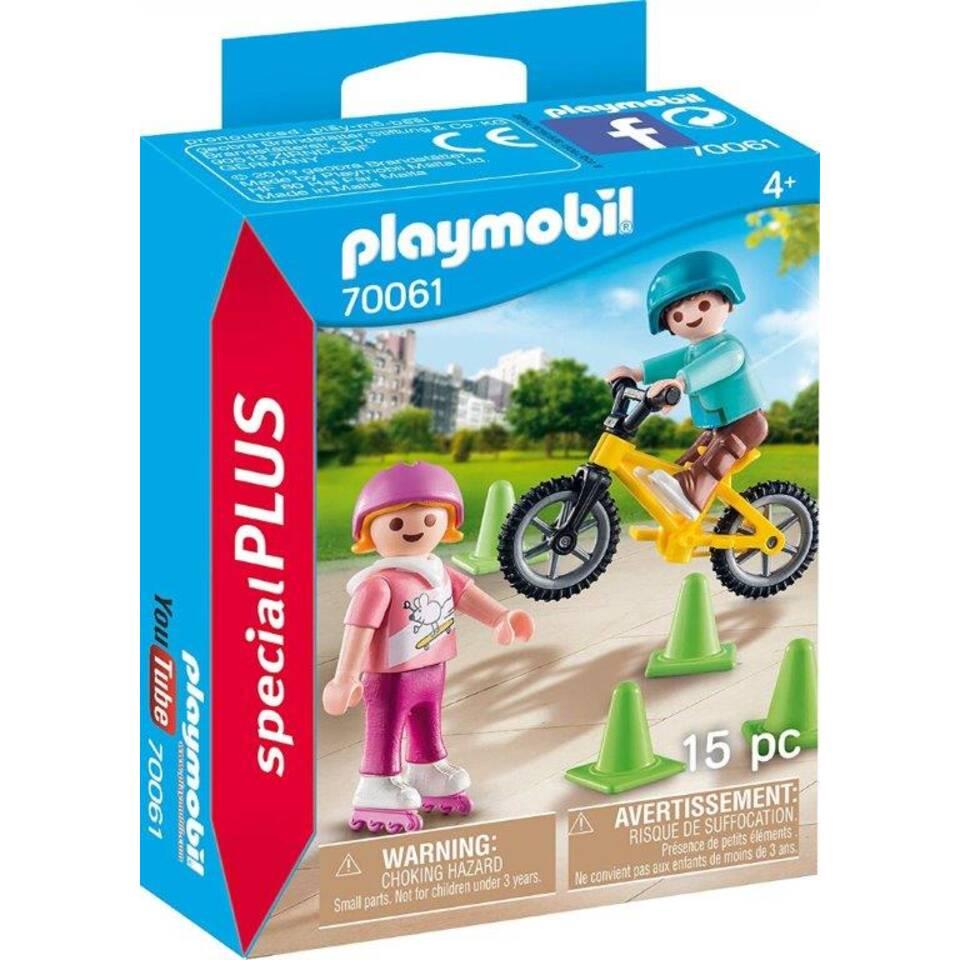 PLAYMOBIL SpecialPLUS kinderen met fiets en skates 70061