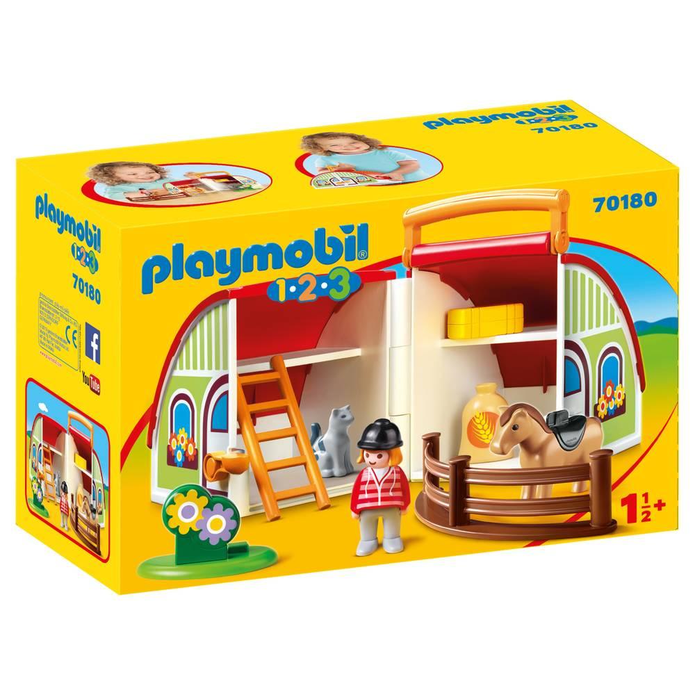 PLAYMOBIL 1.2.3 mijn meeneem manege 70180