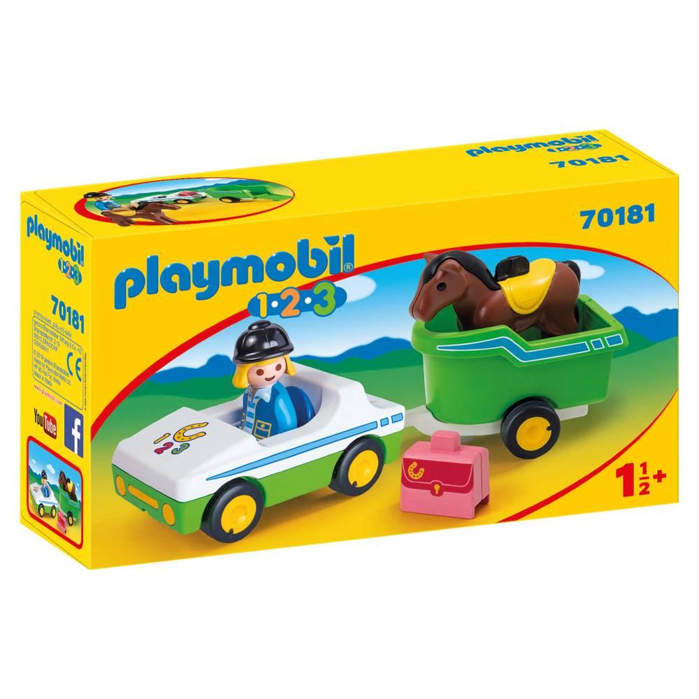 PLAYMOBIL 1.2.3 wagen met paardentrailer
