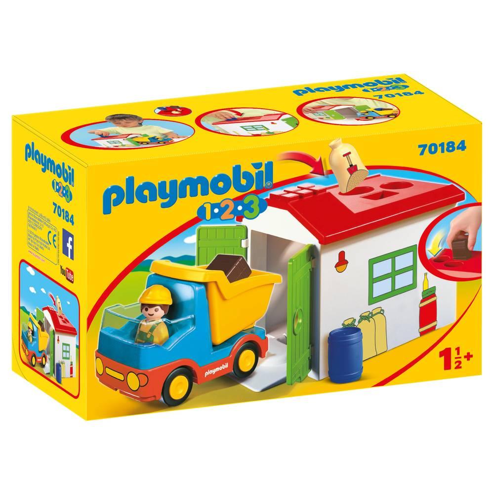 PLAYMOBIL 1.2.3 bouwvakker met garage 70184