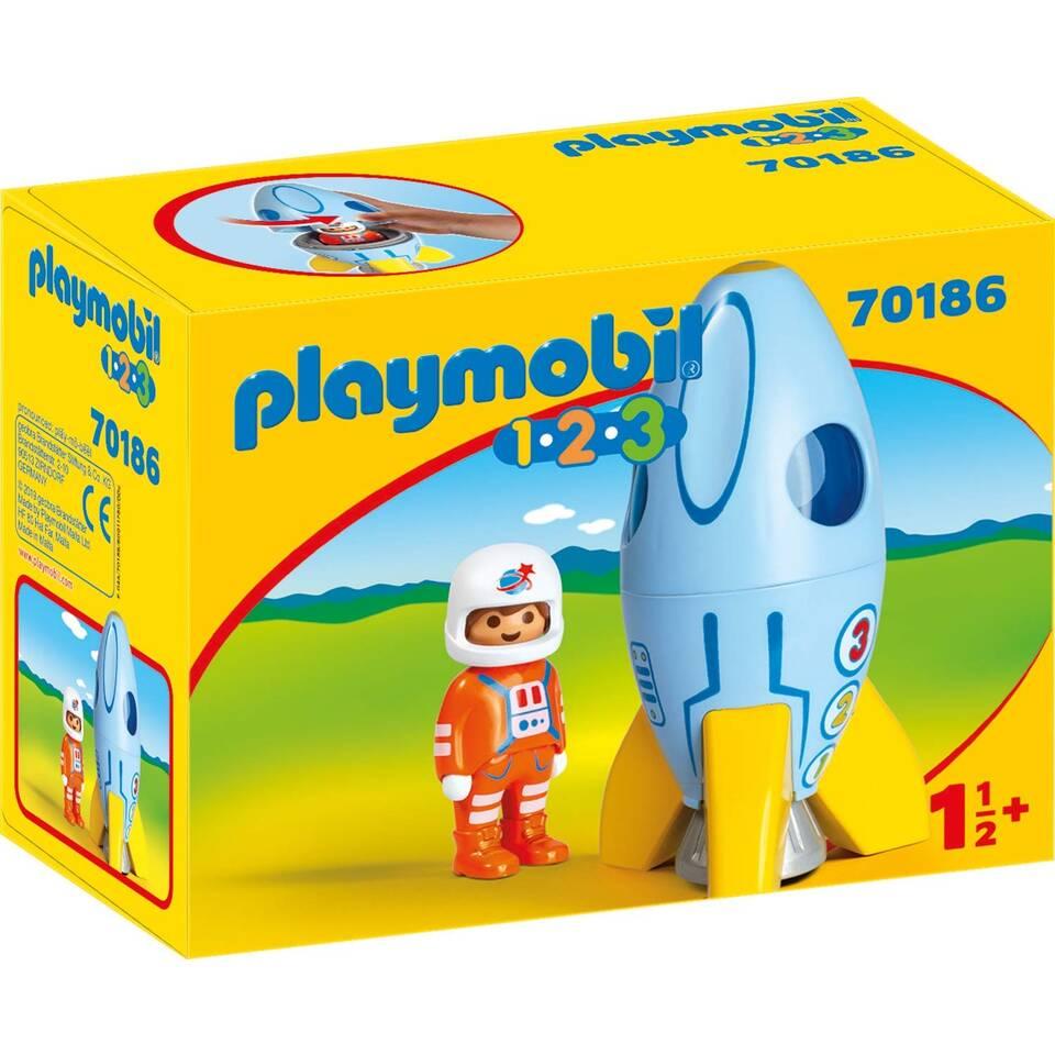 PLAYMOBIL 1.2.3 astronaut met maanraket 70186