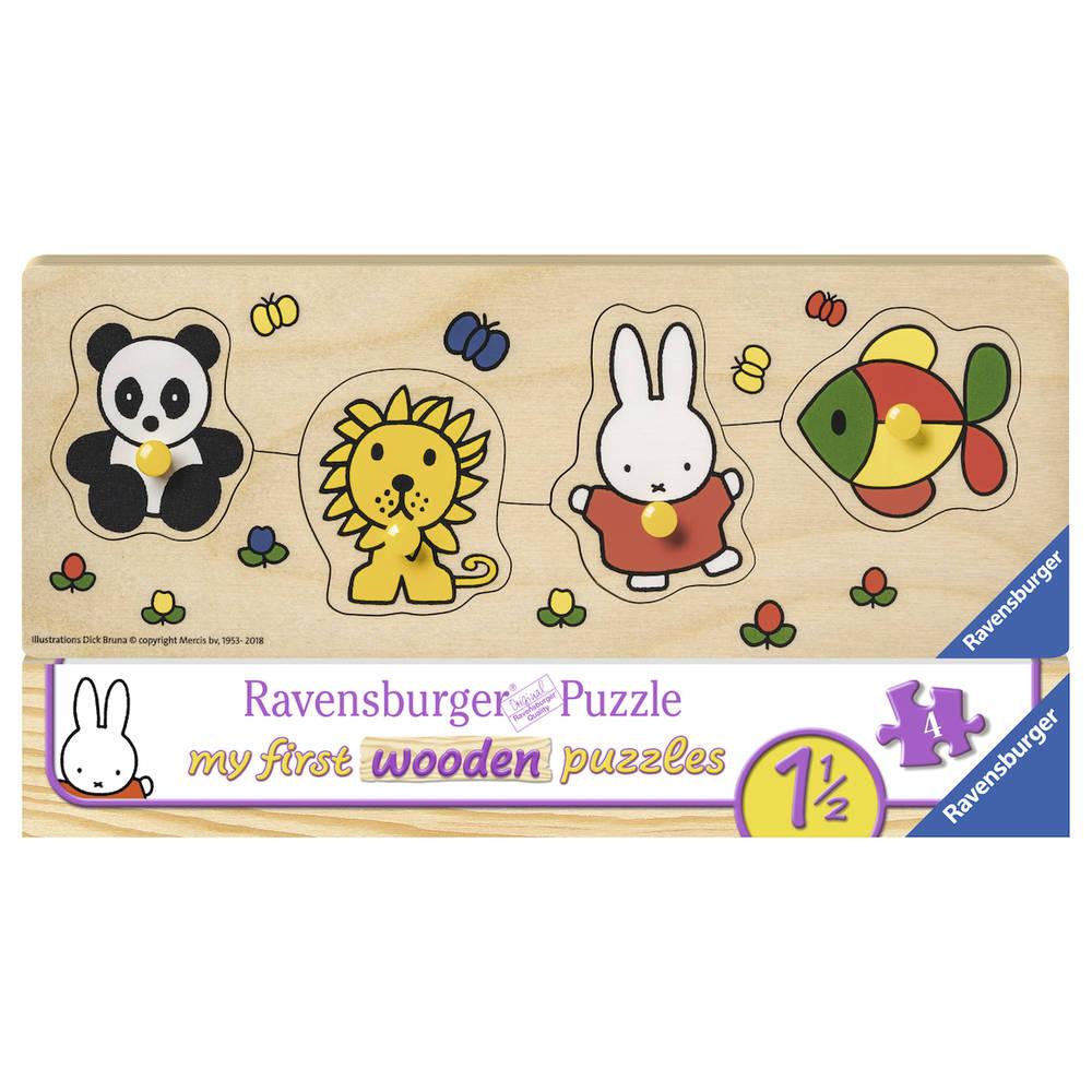 Ravensburger houten puzzel Nijntje en haar dierenvriendjes - 4 stukjes