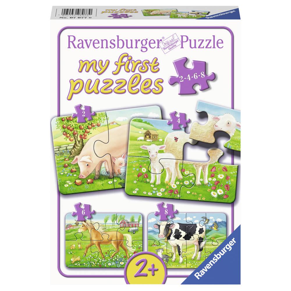 Ravensburger 4-in-1 puzzelset boerderijdieren - 2 + 4 + 6 + 8 stukjes