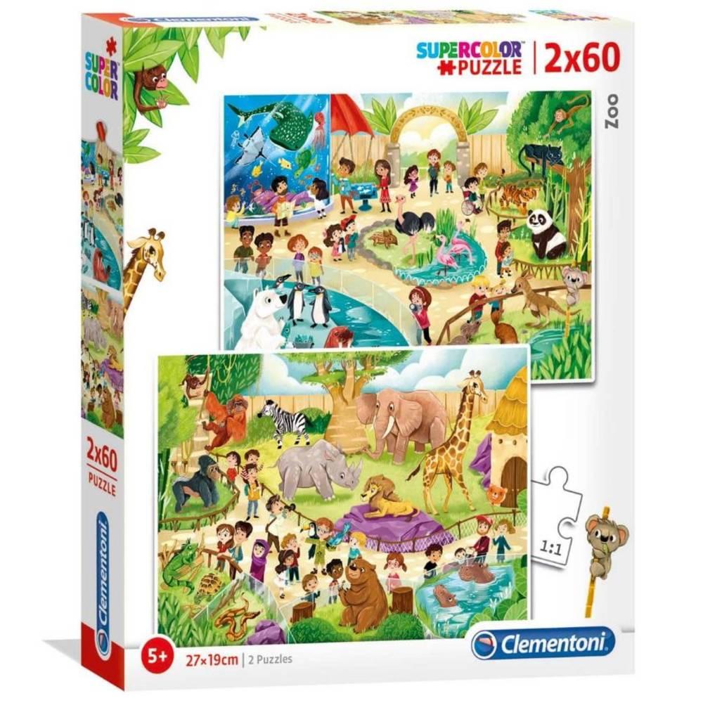 Clementoni puzzelset de dierentuin - 2 x 60 stukjes