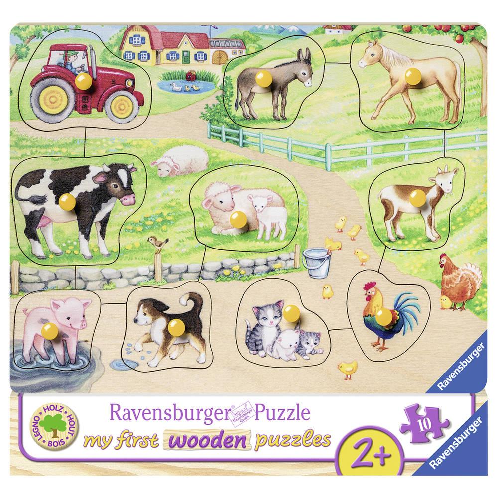 Ravensburger houten puzzel Op de boerderij - 10 stukjes