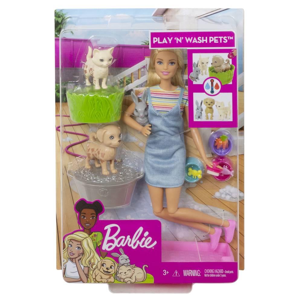 Barbie speelset huisdieren wassen