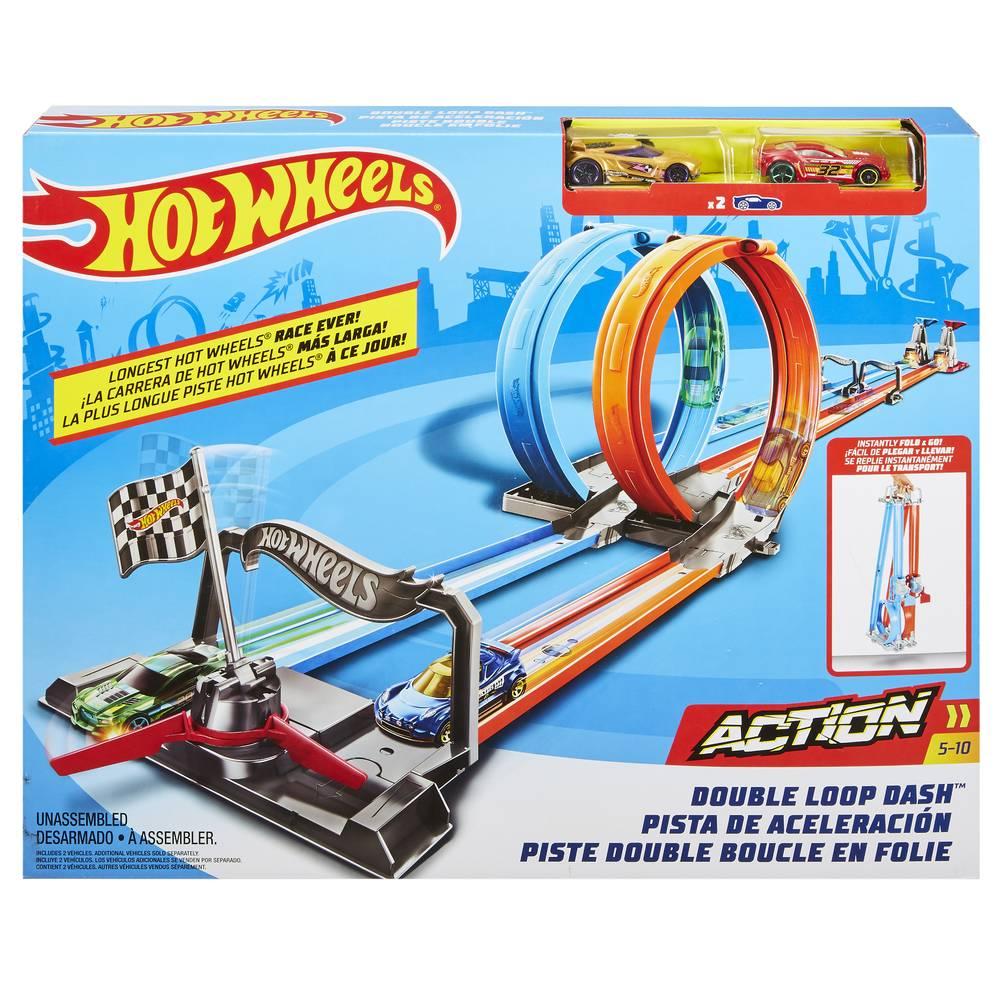 Hot Wheels Action dubbele looping speelset