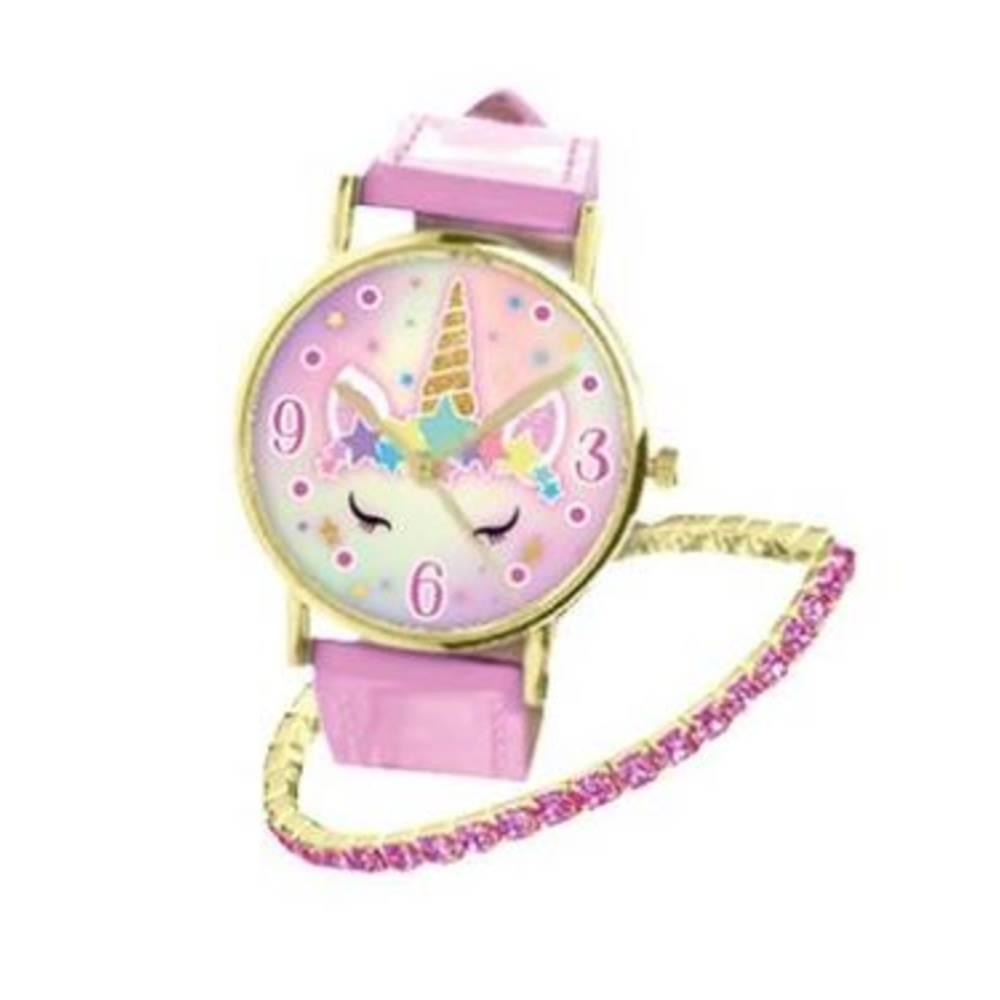 Eenhoorn horloge met armband - roze
