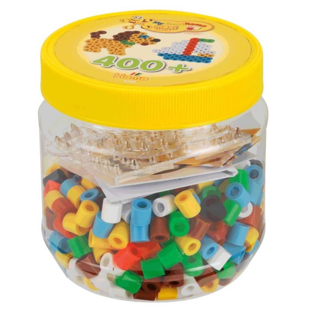 Hama Maxi Strijkkralen en legbord in potje - geel