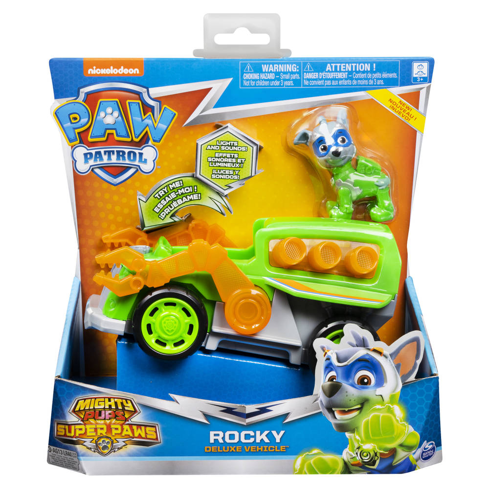 PAW Patrol Mighty Pups Super PAWs luxe voertuig van Rocky